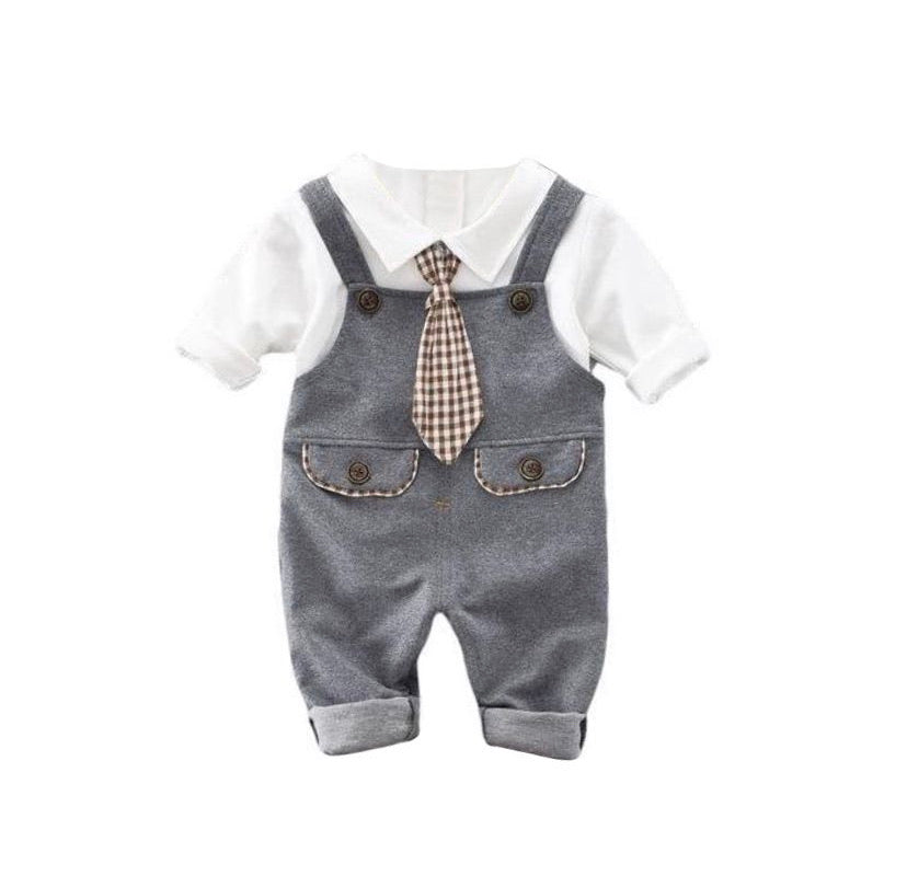 Three Piece Overall Set With Shirt And Tie Button In