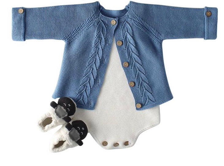 Knit Blue Cardigan & White Romper Set