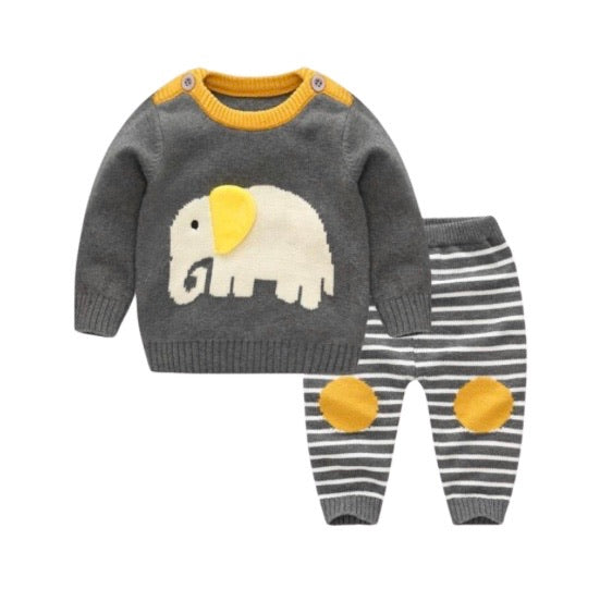Knit Elephant Two Piece Outfit in Dark Grey and Sunshine Yellow