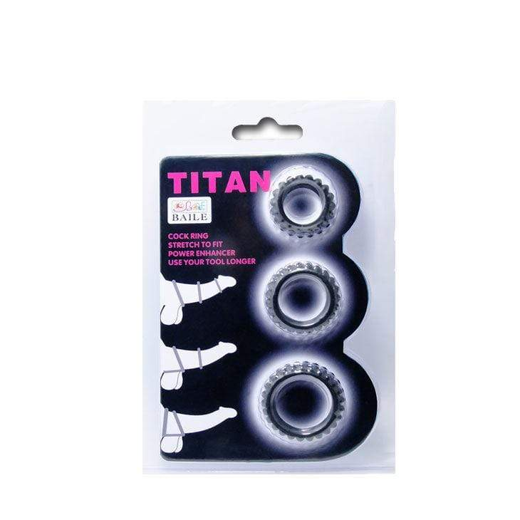 BAILE FOR HIM BAILE TITAN SET 3PCS COCK RING BLACK 2.8 + 2.4 + 1.9 CM WISHMEAYE