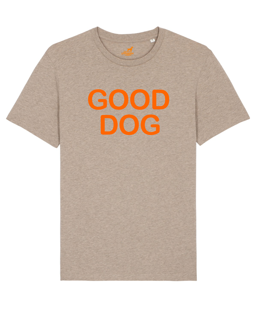 Good Dog T-Shirt Unisex beige melange/orange - Van Muppen