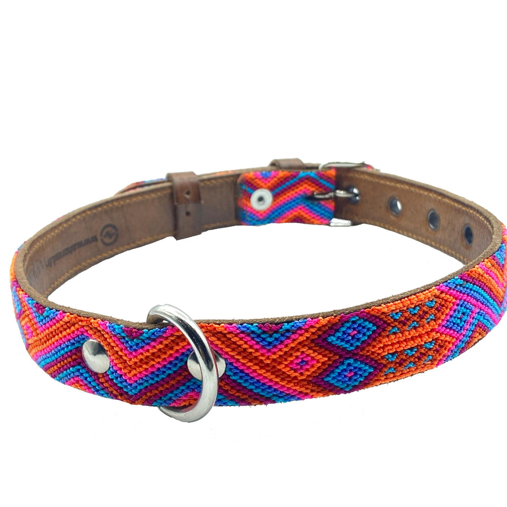 Mexikanisches Hundehalsband orange Blau Band Nylon mit Leder