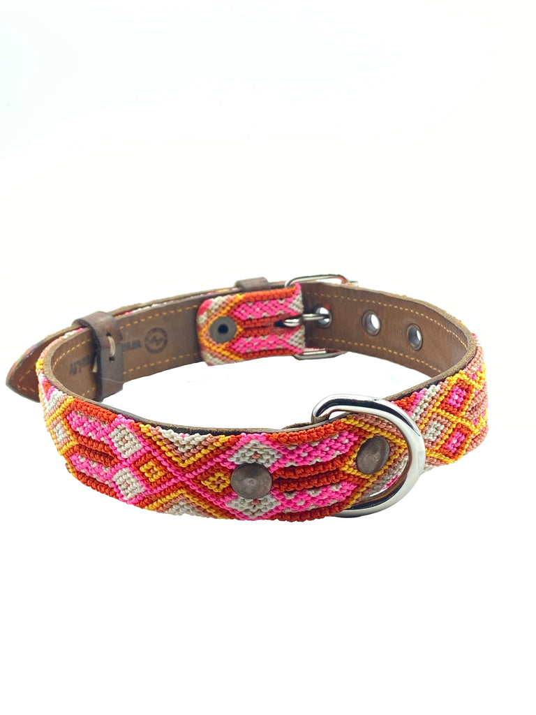 Mexikanisches Hundehalsband in Pink Rot Gelb