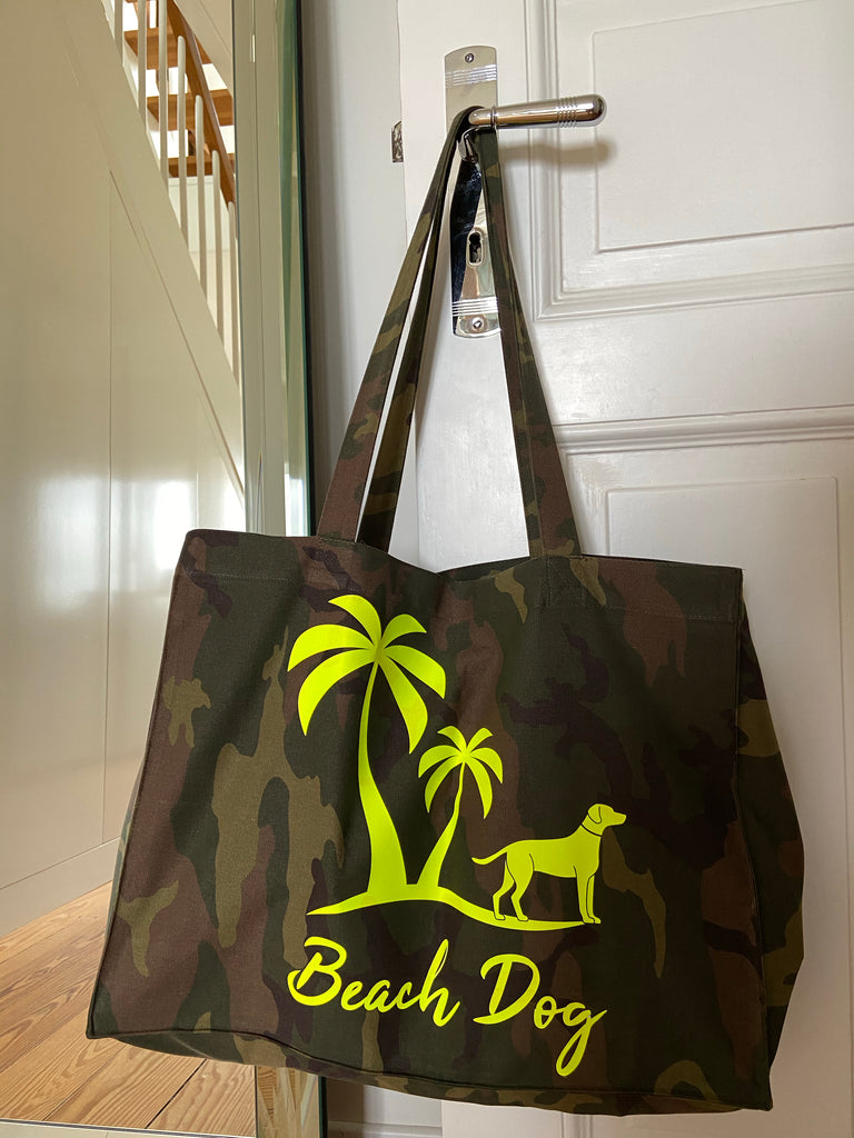 Shopper Beach Bag camouflage neon gelb