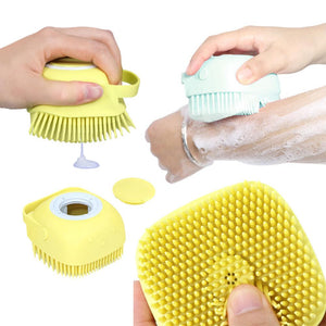 SILICONE BATH BRUSH WITH SHAMPOO DISPENSER