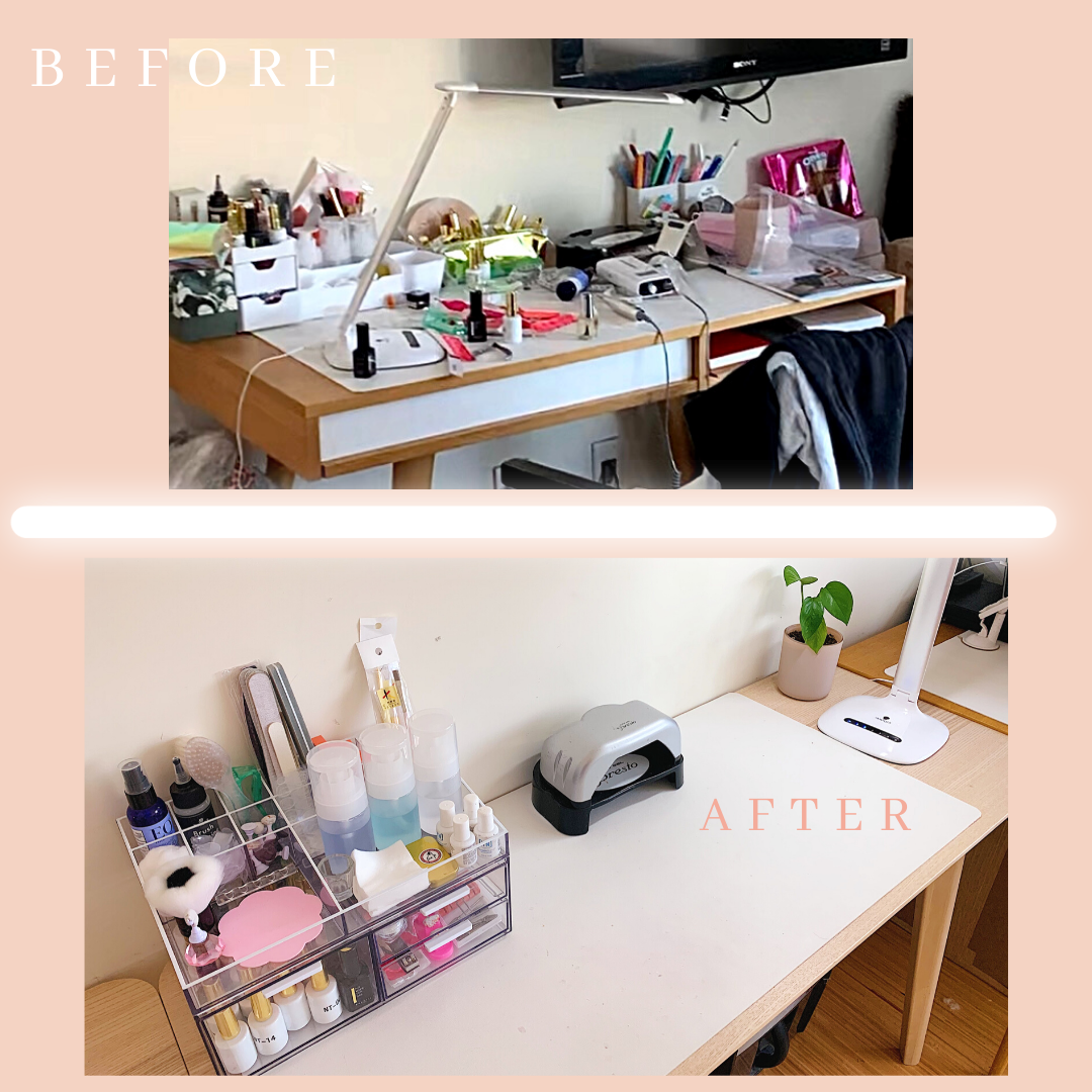 at home nail office before and after