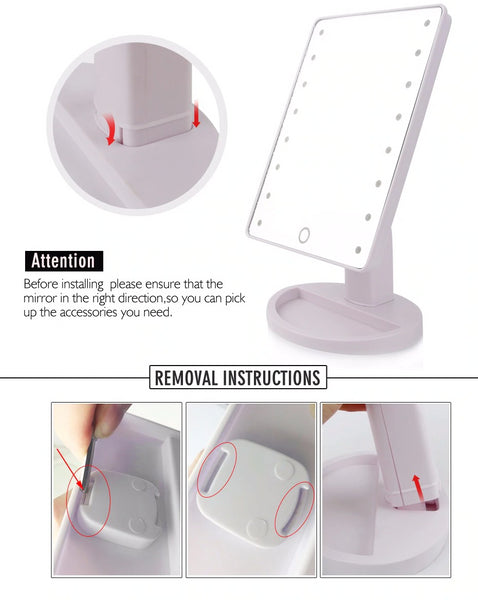 Illuminated Led Mirror For Bathroom Vanity Makeup Backlit Mirrors With 10x Magnifier Mirror - EM General