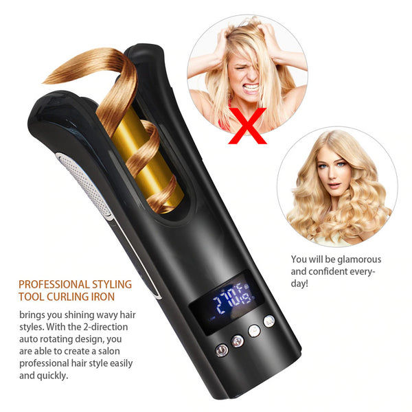 Air Spin n Curl - Automatic Ceramic Rotating Magic Hair Curler - Features beach waves & luxurious curls- EM General
