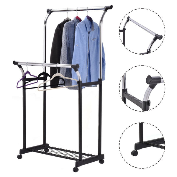 Rolling Portable Clothes Drying Rack with Shoe Rack - EM General