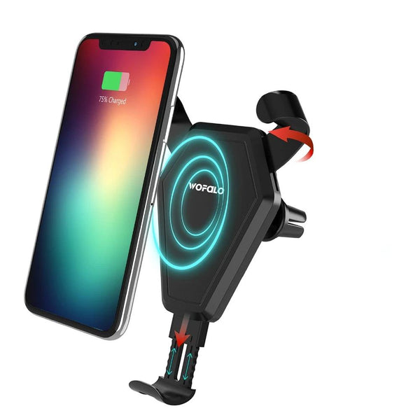 Car Phone Holder Wireless Charger, Mount & Air Vent Clip For iPhone & Android - EM General