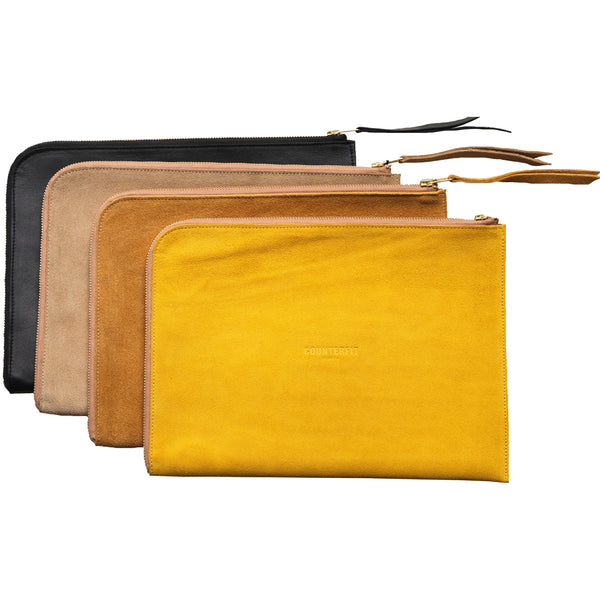 Laptop and document holder in suede leather