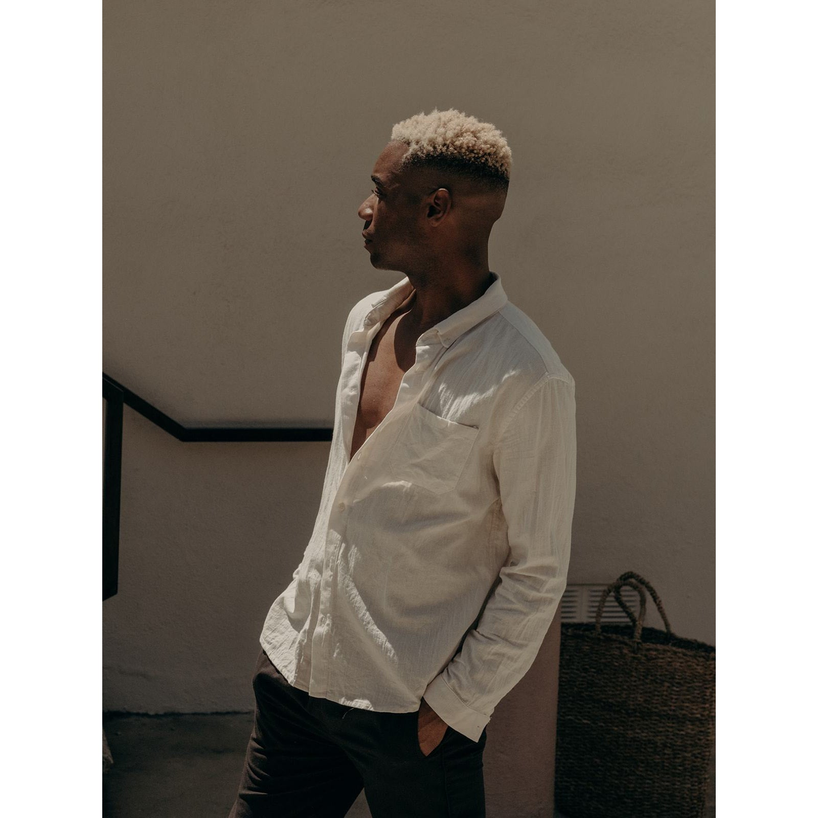 Button down Shirt in off white cotton - counterfitstudio