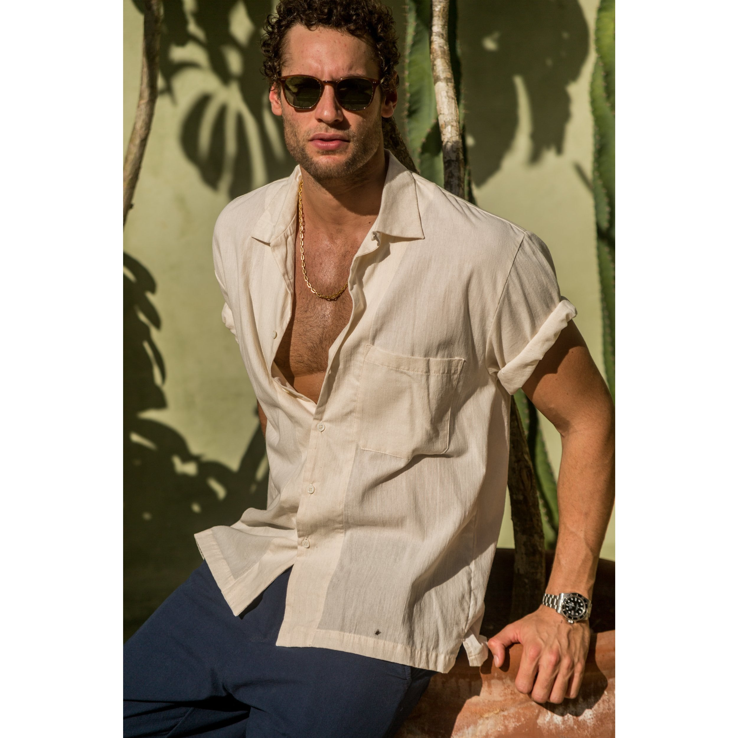 Beach Shirt in natural white cotton