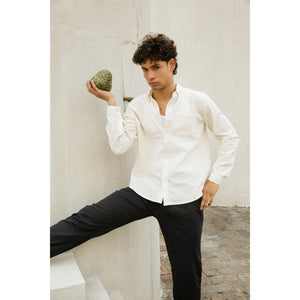 Button down Shirt in natural white cotton