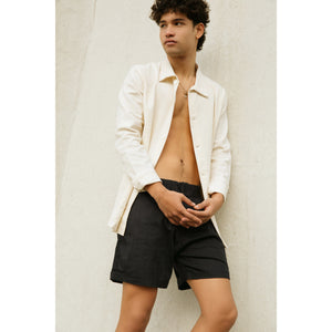 Elastic Chino Short in black bamboo-cotton