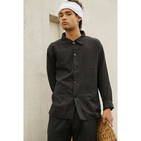Workwear Jacket in black bamboo-cotton