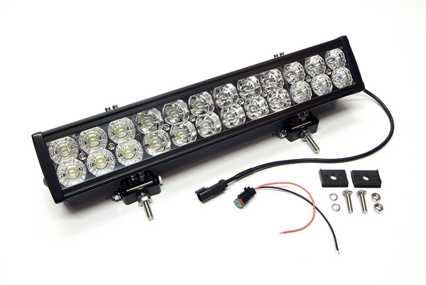 "20"" LED Light Bar Str, Dbl Row, Combo Flood/Beam 120w (DT Harness 79900) 9,600 Lumens Adj. Mounts"
