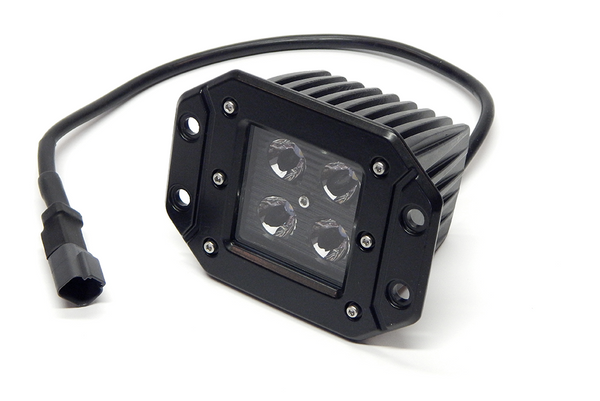 "3"" X 3"" 16W Square Flush Mount LED Light Flood (DT Harness 79900)  1,440 Lumens each Black Face"