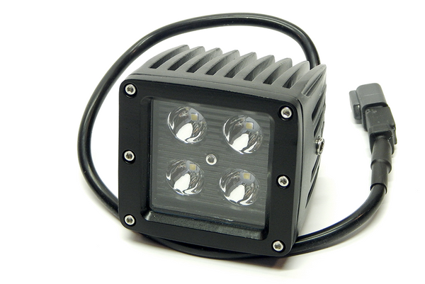 "3"" X 3"" 16W Square LED Light Spot (DT Harness 79900)  1,440 Lumens each Black Face"