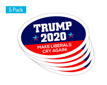 Load image into Gallery viewer, 5-Pack of Oval Car Magnets | Make Liberals Cry Again