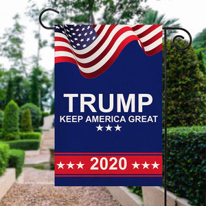 American Trump Keep America Great 2020 Burlap Garden Flag Double Sided