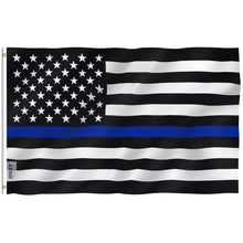 Load image into Gallery viewer, 3x5 Foot Thin Blue Line USA Flag - Vivid Color and UV Fade Resistant - Canvas Header and Double Stitched - Honoring Law Enforcement Officers Flags Polyester with Brass Grommets 3 X 5 Ft