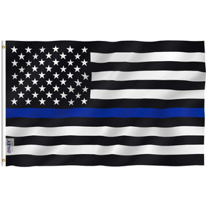 3x5 Foot Thin Blue Line USA Flag - Vivid Color and UV Fade Resistant - Canvas Header and Double Stitched - Honoring Law Enforcement Officers Flags Polyester with Brass Grommets 3 X 5 Ft