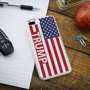 President Trump American Flag Protective Slim Fit Hybrid Rubber Bumper Case Fits Apple iPhone 8 Plus