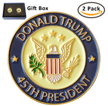Load image into Gallery viewer, Donald Trump 45th President Lapel Pin | Trump Pin with Gift Box, Pack of 2 Pins, White House Presidential Souvenir and Collection