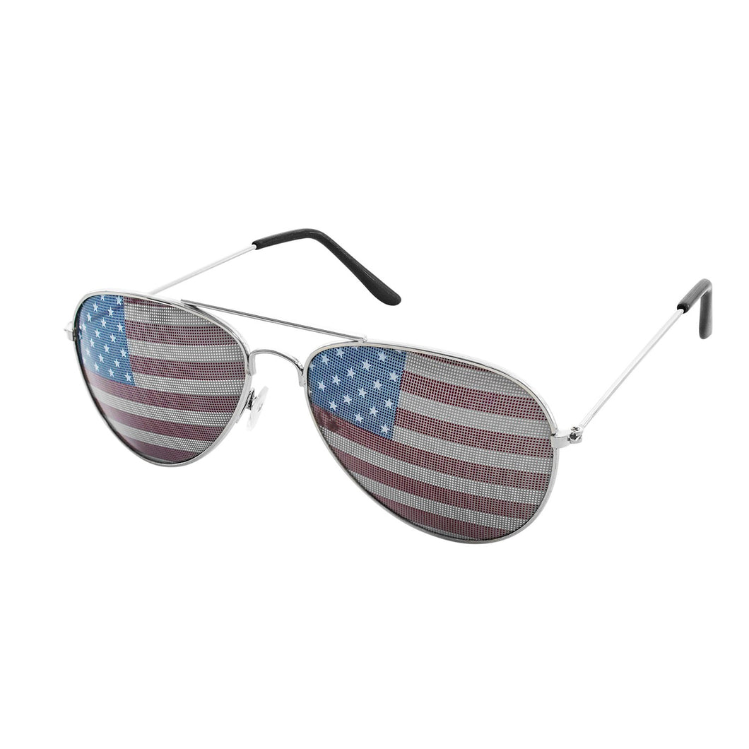 American USA Flag Design Metal Frame Aviator Unisex Sunglasses with Print Patterned Lens for Sun Protection, Driving, Eye Wear Silver
