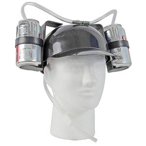 Beer Soda Guzzler Helmet Drinking Party Hat - Black