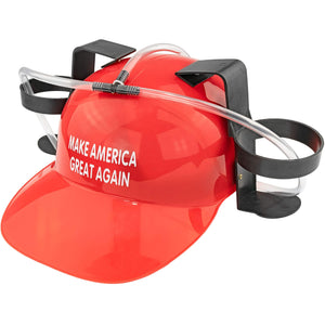 Beer Soda Guzzler Helmet Make America Great Again - Donald Trump, Red