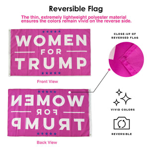 Donald Trump Flag 3x5 Women for Trump USA Authentic Large Hot Pink Make America Great Again Polyester US President Flag