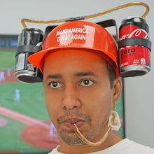 Load image into Gallery viewer, Beer Soda Guzzler Helmet Make America Great Again - Donald Trump, Red