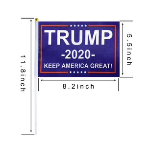 50 Pack Donald Trump Flag for President 2020 Keep America Great Flag Small Mini Hand Held Stick Flags Banner Make America Great for Party Decorations,Parades,Election Day Celebration Event