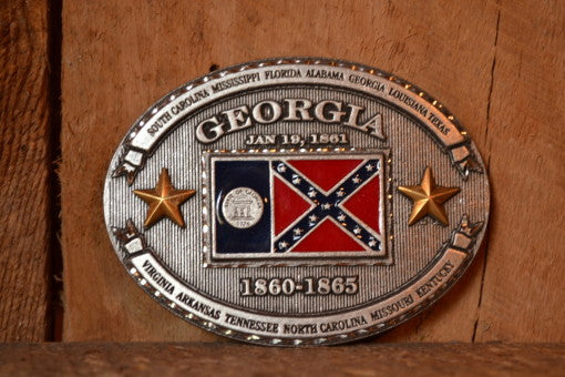 Old Georgia Confederate Flag Belt Buckle | Rebel Flag Buckle