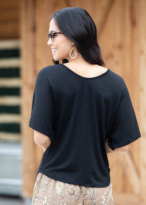 BLACK::variant::Luxe Dolman Top Black Front View