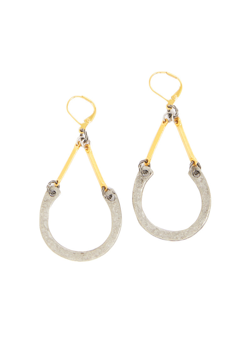 MIXED METAL::variant::Hammered Horseshoe Earrings