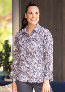 DUSTY PLUM FILIGREE HORSE::variant::Journey Button Front Shirt Print