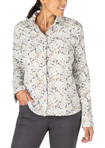 WHITE FILIGREE HORSE::variant::Journey Button Front Shirt Print