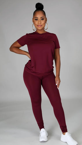 Legging Pant Set - Burgundy