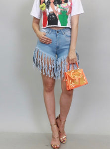 Light Frayed Denim Shorts