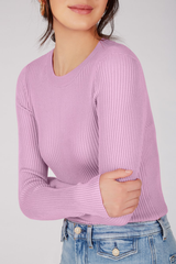 Ribbed Knit Crewneck Pullover
