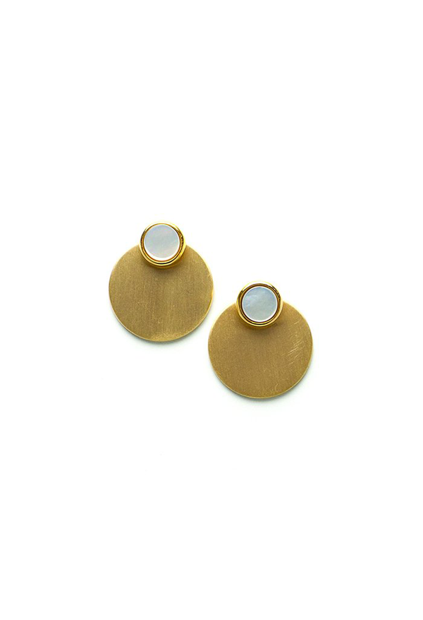 Abalone Disc-o Jacket Post Earrings