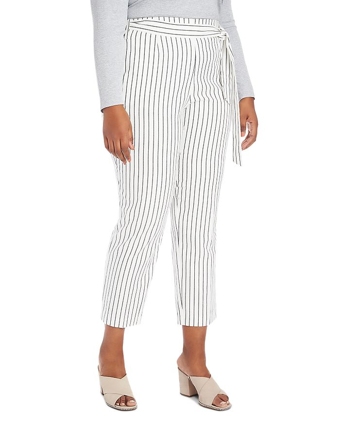 Striped Tapered-Leg Pants