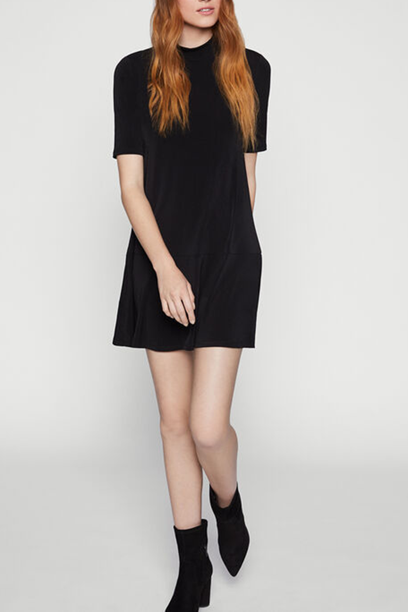 Mock Neck Shift Dress