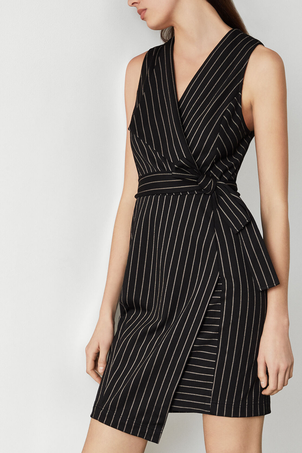 Pinstripe Crossover Dress