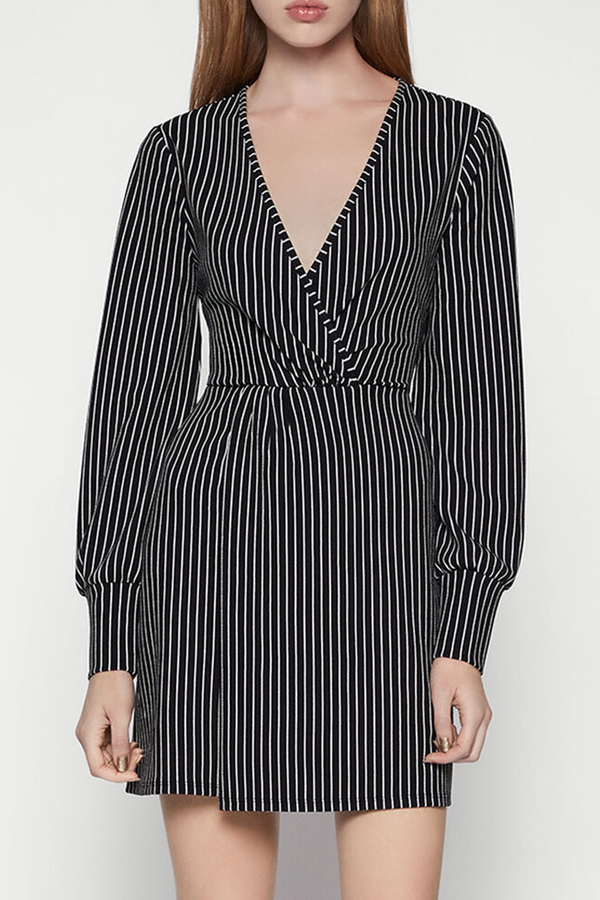 Striped Surplice Dress