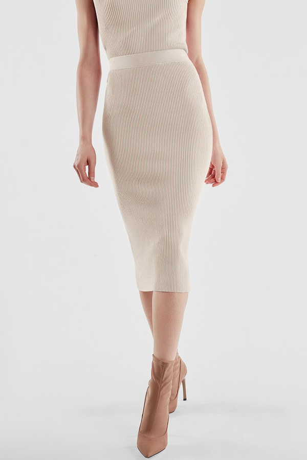 RIBBED KNIT MIDI-LENGTH SKIRT