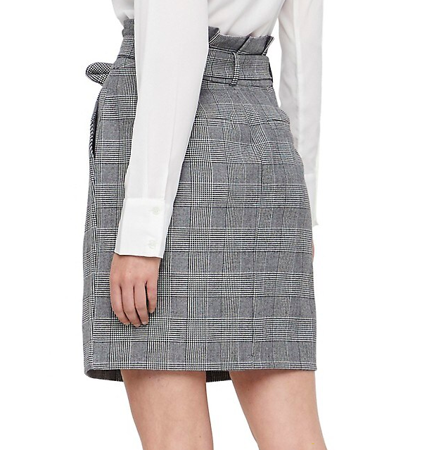 EVA PAPERBAG SHORT CHECK SKIRT